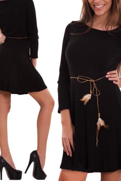Women Casual Dress Autumn Long Sleeve Belted A-line Mini Club Party Dress black