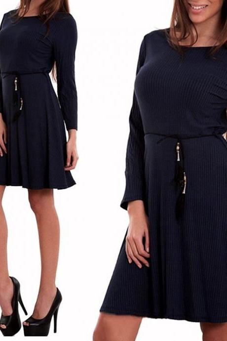 Women Casual Dress Autumn Long Sleeve Belted A-line Mini Club Party Dress navy blue