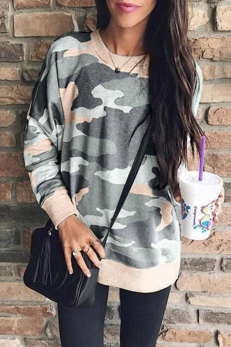 Women Camouflage Printed Sweatshirt Autumn Casual O Neck Long Sleeve Loose Pullover Tops khaki