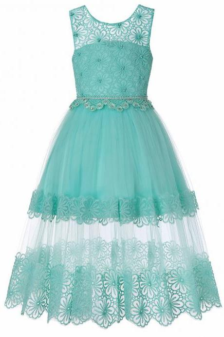 Lace Flower Girl Dress Princess Teens Wedding Formal Birthday Party Gown Children Clothes aqua