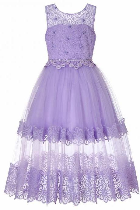 Lace Flower Girl Dress Princess Teens Wedding Formal Birthday Party Gown Children Clothes lilac