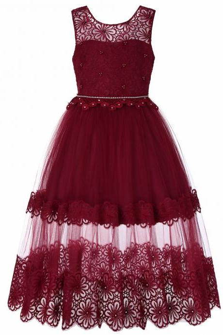Lace Flower Girl Dress Princess Teens Wedding Formal Birthday Party Gown Children Clothes wine red