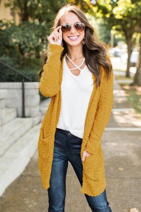 Women Sweater Coat Autumn Winter Pocket Long Sleeve Loose Casual Long Cardigan Jacket yellow