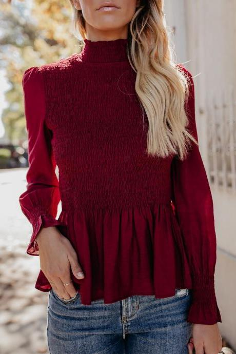 Women Blouse Spring Autumn Turtleneck Flare Long Sleeve Draped Solid Casual Slim Pullover Tops wine red
