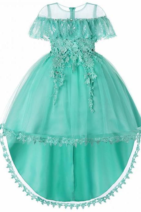 High Low Flower Girl Dress Trailing Lace Wedding Kids Formal Birthday Party Dress Children Clothes aqua