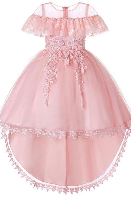 High Low Flower Girl Dress Trailing Lace Wedding Kids Formal Birthday Party Dress Children Clothes pink