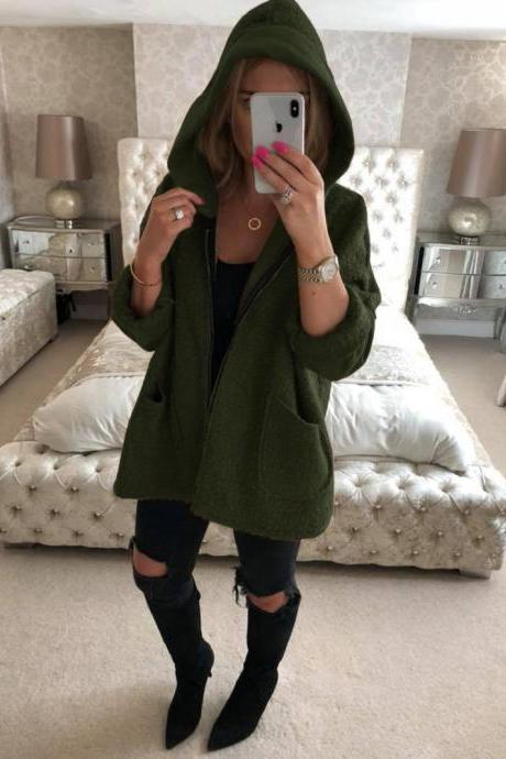 Women Plush Coat Autumn Winter Hooded Zipper Pocket Long Sleeve Warm Casual Loose Jacket Outerwear army green