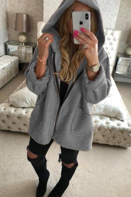 Women Plush Coat Autumn Winter Hooded Zipper Pocket Long Sleeve Warm Casual Loose Jacket Outerwear gray