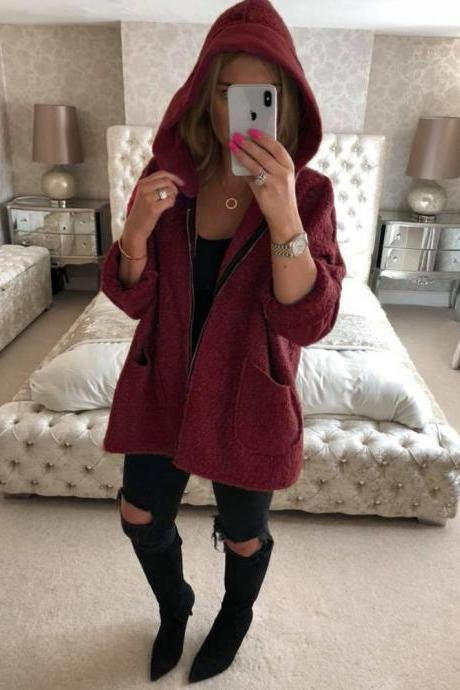 Women Plush Coat Autumn Winter Hooded Zipper Pocket Long Sleeve Warm Casual Loose Jacket Outerwear wine red