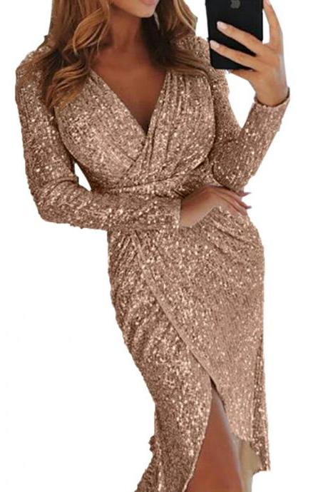 Women Sequined Dress V Neck High Split Long Sleeve Asymmetrical Bodycon Sexy Night Club Party Dress champagne