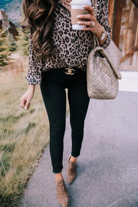 Women Leopard Printed Blouse Autumn Turn Down Collar Long Sleeve Casual Loose Tops Shirt 100229-khaki