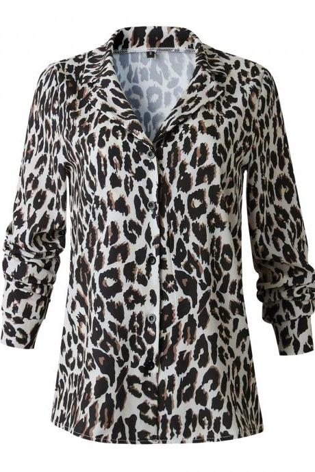 Women Leopard Printed Blouse Autumn Turn Down Collar Long Sleeve Casual Loose Tops Shirt 100235-khaki