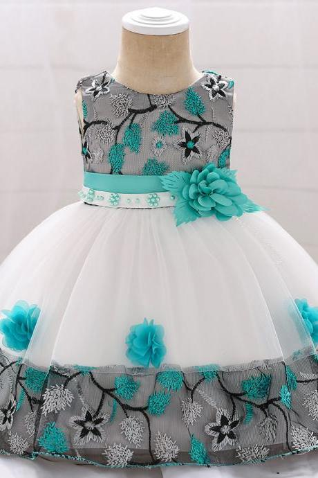 Infant Baby Girl Dress Sleeveless Floral Baptism 1 Year Birthday Party Princess Dress Kids Clothes aqua