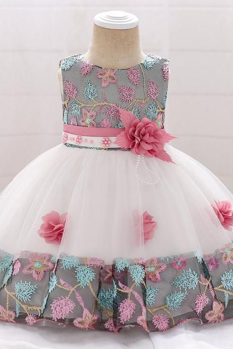 Infant Baby Girl Dress Sleeveless Floral Baptism 1 Year Birthday Party Princess Dress Kids Clothes pink
