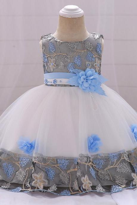 Infant Baby Girl Dress Sleeveless Floral Baptism 1 Year Birthday Party Princess Dress Kids Clothes sky blue