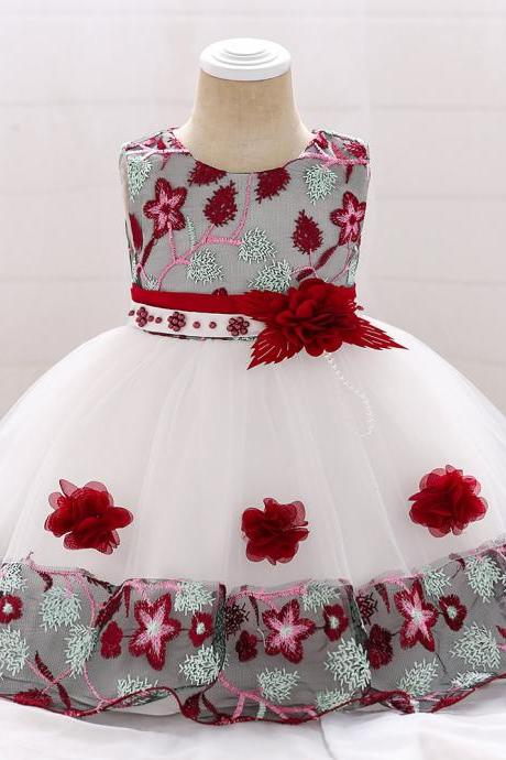 Infant Baby Girl Dress Sleeveless Floral Baptism 1 Year Birthday Party Princess Dress Kids Clothes wine red