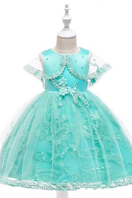Lace Flower Girl Dress Sleeveless Cape Sleeve Wedding Birthday Evening Party Gown Kids Children Clothes aqua