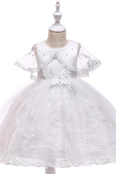 Lace Flower Girl Dress Sleeveless Cape Sleeve Wedding Birthday Evening Party Gown Kids Children Clothes off white