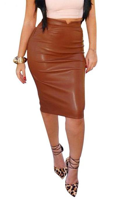 Women PU Leather Skirt High Waist Bodycon Nightclub Knee Length Slim Package Hip Pencil Skirt coffee