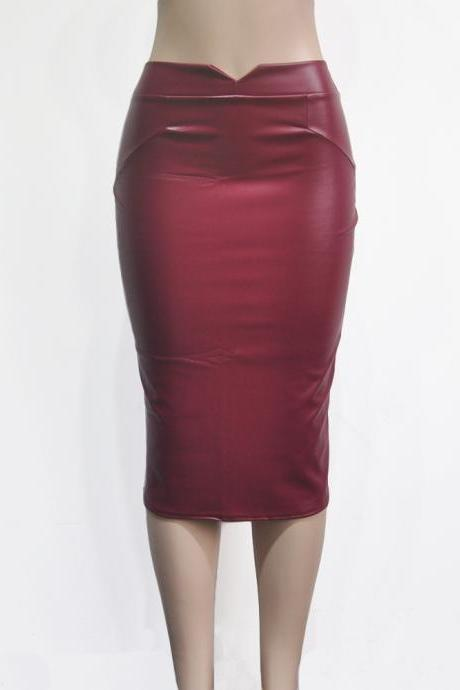 Women PU Leather Skirt High Waist Bodycon Nightclub Knee Length Slim Package Hip Pencil Skirt purplish red