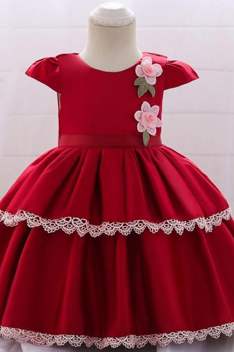 Newborn Baby Girl Dress Cap Sleeve Lace Christening 1 Year Birthday Satin Party Tutu Gown Kids Clothes crimson