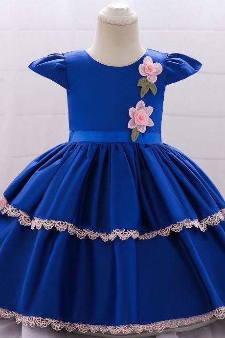 Newborn Baby Girl Dress Cap Sleeve Lace Christening 1 Year Birthday Satin Party Tutu Gown Kids Clothes royal blue