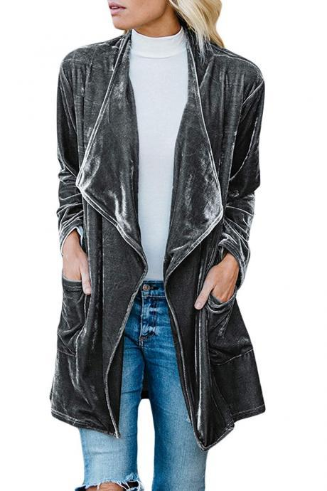 Women Velvet Trench Coat Autumn Turn-down Collar Long Sleeve Open Stitch Cardigan Jacket Outwear gray
