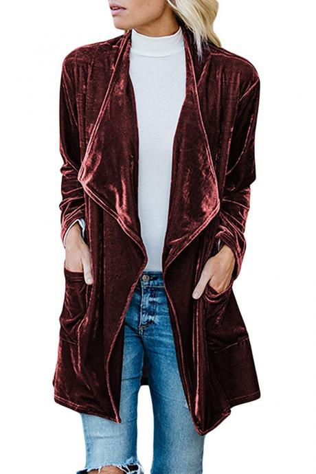Women Velvet Trench Coat Autumn Turn-down Collar Long Sleeve Open Stitch Cardigan Jacket Outwear wine red