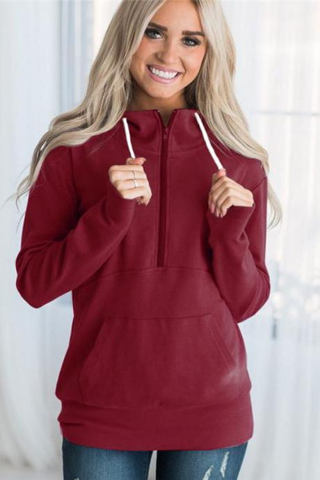 Womens Hoodies Autumn Winter Casual Zipper Hooded Pockets Sweatshirt Pullover Tops crimson