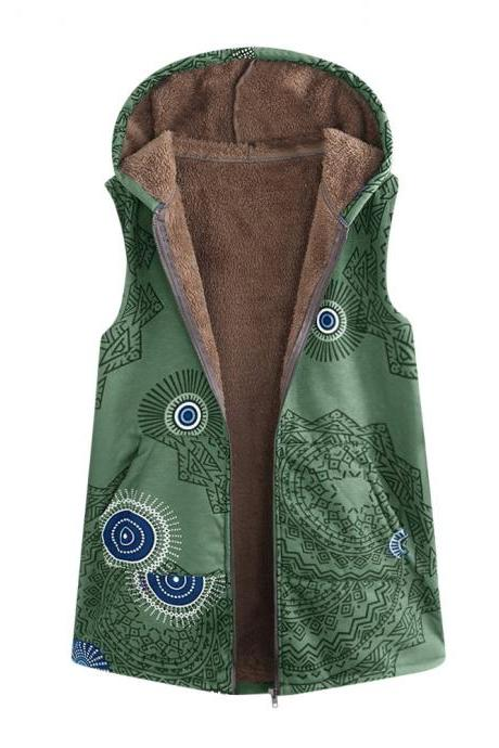 omen Floral Printed Waistcoat Winter Warm Hooded Pockets Vest Thicken Casual Plus Size Sleeveless Coat Outwear green