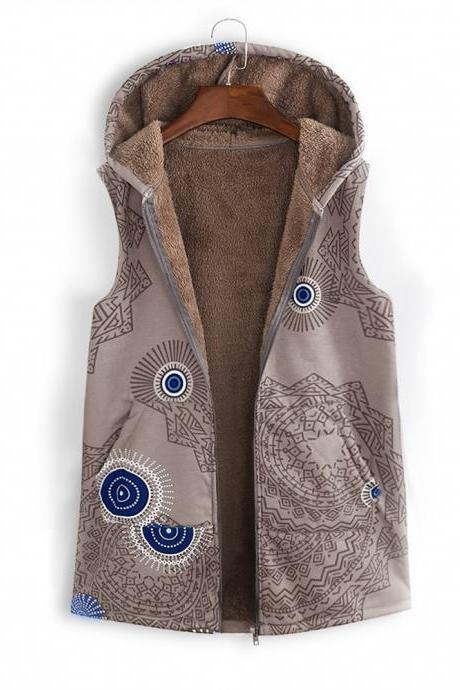 Women Floral Printed Waistcoat Winter Warm Hooded Pockets Vest Thicken Casual Plus Size Sleeveless Coat Outwear khaki