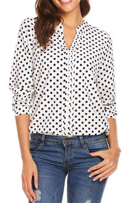 Women Polka Dot Blouse Spring Autumn V Neck Long Sleeve Plus Size Casual Loose Tops Shirt off white