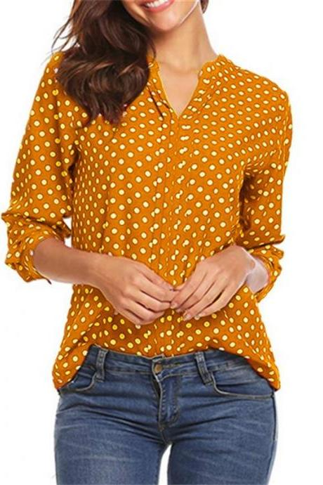 Women Polka Dot Blouse Spring Autumn V Neck Long Sleeve Plus Size Casual Loose Tops Shirt yellow
