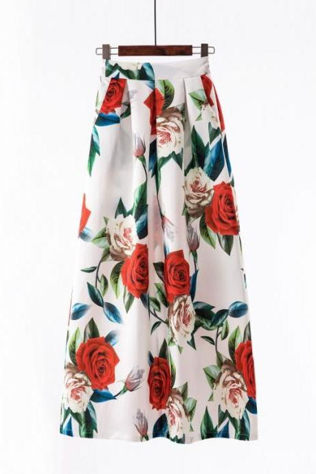 Women Floral Printed Maxi Skirt Vintage High Waist Floor Length Plus Size Pleated A Line Long Skirt 1#