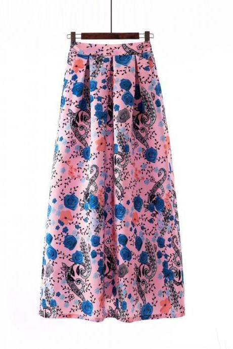 Women Floral Printed Maxi Skirt Vintage High Waist Floor Length Plus Size Pleated A Line Long Skirt 5#
