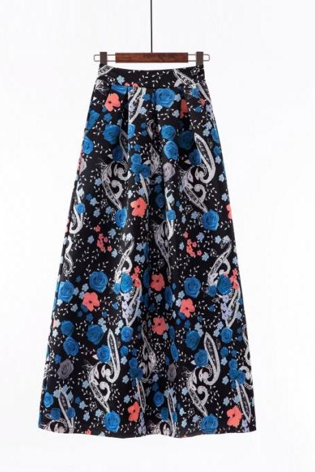 Women Floral Printed Maxi Skirt Vintage High Waist Floor Length Plus Size Pleated A Line Long Skirt 6#