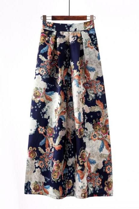 Women Floral Printed Maxi Skirt Vintage High Waist Floor Length Plus Size Pleated A Line Long Skirt 7#