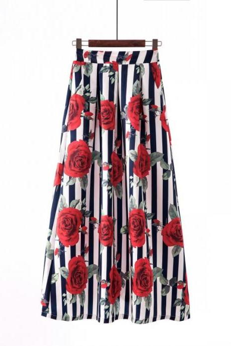 Women Floral Printed Maxi Skirt Vintage High Waist Floor Length Plus Size Pleated A Line Long Skirt 14#