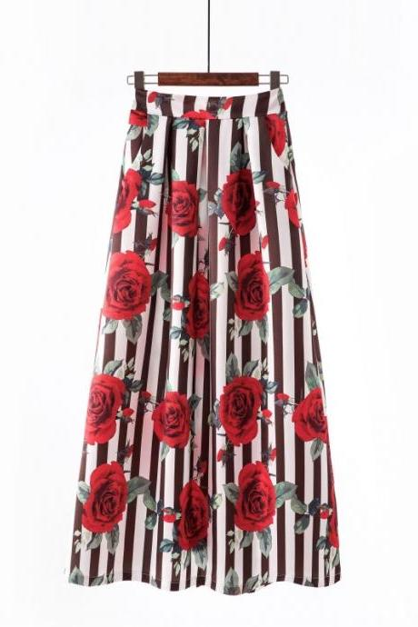 Women Floral Printed Maxi Skirt Vintage High Waist Floor Length Plus Size Pleated A Line Long Skirt 15#