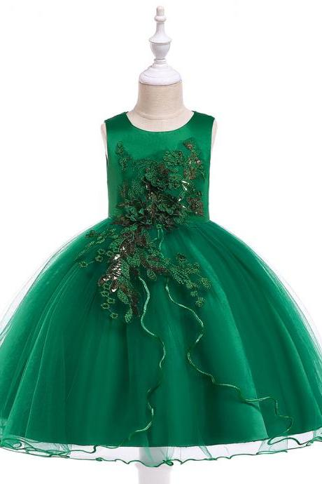 Princess Flower Girl Dress Sleeveless Wedding Formal Birthday Party Tutu Gown Children Clothes hunter green