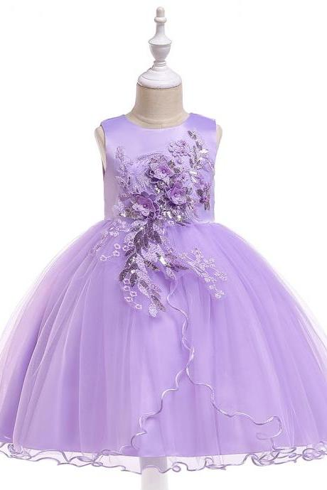 Princess Flower Girl Dress Sleeveless Wedding Formal Birthday Party Tutu Gown Children Clothes lilac