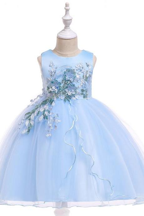 Princess Flower Girl Dress Sleeveless Wedding Formal Birthday Party Tutu Gown Children Clothes sky blue