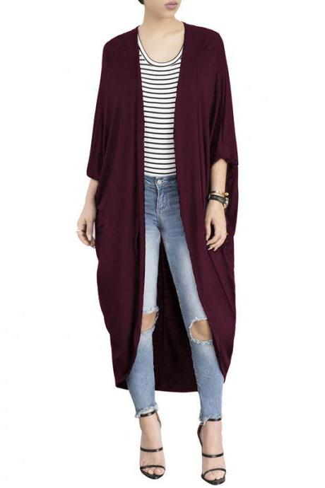 Women Trench Coat Autumn 3/4 Bat Sleeve Casual Loose Asymmetrical Long Cardigan Jacket wine red