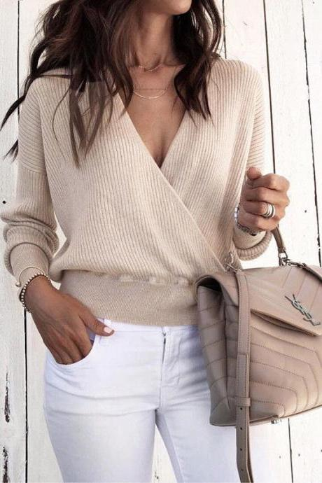 Women Knitted Sweater Autumn Winter Warm V-Neck Long Sleeve Casual Loose Pullovers Tops apricot