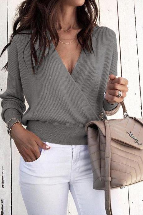 Women Knitted Sweater Autumn Winter Warm V-Neck Long Sleeve Casual Loose Pullovers Tops gray