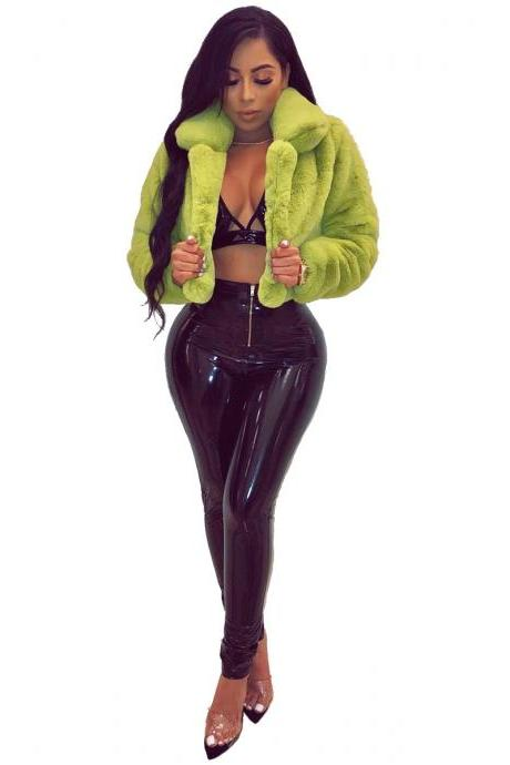 Women Faux Fur Coat Autumn Winter Turn Down Collar Warm Plush Long Sleeve Open Stitch Casual Cropped Jacket apple green