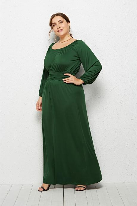 Plus Size Women Maxi Dress High Waist Long Sleeve Solid Loose Formal Party Long Dress green