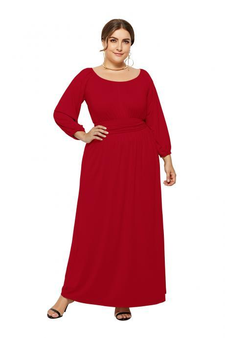 Plus Size Women Maxi Dress High Waist Long Sleeve Solid Loose Formal Party Long Dress red
