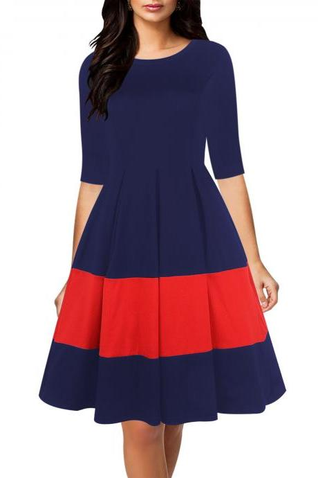 Women Casual Dress Autumn Half Sleeve Patchwork A-Line Office Work Business Party Dress dark blue+red