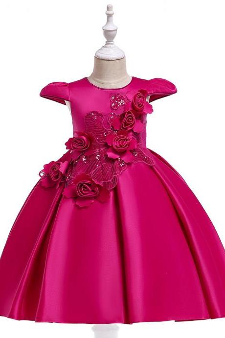 Satin Flower Girl Dress Cap Sleeve Floral Kids Birthday Formal Party Prom Gown Children Clothes hot pink